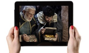 Free Bible story images on an iPad
